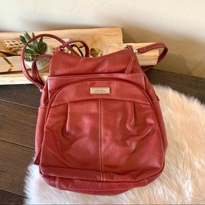 Multi sac Red leather backpack purse